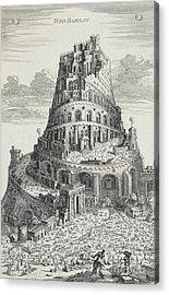 Tower Of Babylon Acrylic Print by Pierre Fourdrinier