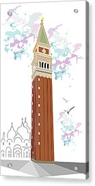 Tower Of Campanile In Venice Acrylic Print