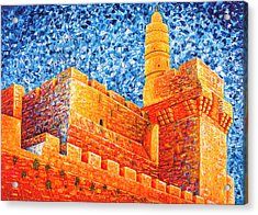 Acrylic Print featuring the painting Tower Of David At Night Jerusalem Original Palette Knife Painting by Georgeta Blanaru