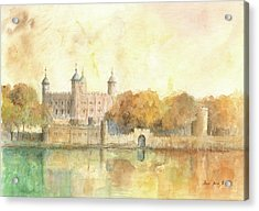 Tower Of London Watercolor Acrylic Print by Juan Bosco