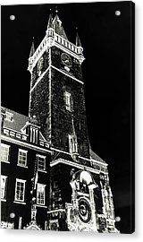 Acrylic Print featuring the photograph Tower Of Old Town Hall In Prague. Black by Jenny Rainbow
