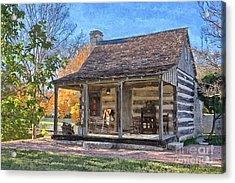 Town Creek Log Cabin In Fall Acrylic Print