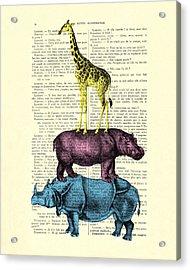 Safari Animals Town Musicians Of Bremen Parody Acrylic Print by Madame Memento