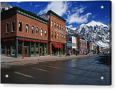 Town Stores Telluride Co Acrylic Print by Panoramic Images