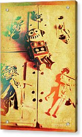 Toy Robots On Vintage Cassettes Acrylic Print by Jorgo Photography - Wall Art Gallery