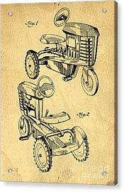 Toy Tractor Patent Drawing Acrylic Print by Edward Fielding