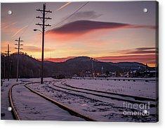 Track Warning Acrylic Print by Darren Walker