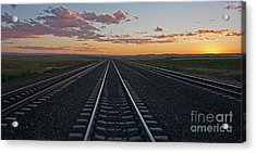 Tracks Into Sunset Acrylic Print