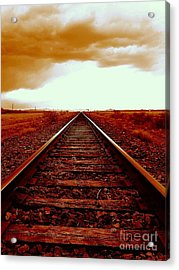 Marfa Texas America Southwest Tracks To California Acrylic Print by Michael Hoard