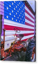 Tractor And Large Flag Acrylic Print