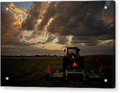 Tractor At Sunrise - Chester Nebraska Acrylic Print
