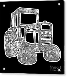 Funky Tractor Graphic Pen Ink Acrylic Print