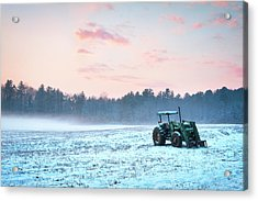 Tractor In A Snowy Field Durham Nh Acrylic Print by Eric Gendron