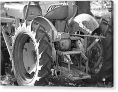 Tractor In Black And White  Acrylic Print by Peter  McIntosh