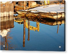 Tractor Reflections Acrylic Print by Heather S Huston