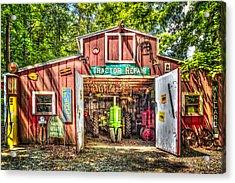 Tractor Repair Shoppe Acrylic Print by Debra and Dave Vanderlaan