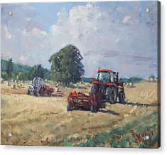 Tractors In The Farm Georgetown Acrylic Print by Ylli Haruni