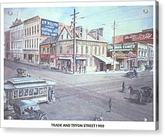 Trade And Tryon Street 1900 Acrylic Print by Charles Roy Smith