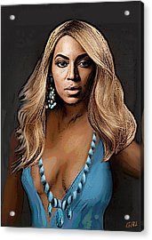 Traditional Modern Original Painting Beyonce In Turquoise Acrylic Print