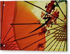 Traditional Red And Yellow Umbrellas Acrylic Print by Sami Sarkis