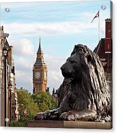 Trafalgar Square Lion With Big Ben Acrylic Print by Gill Billington