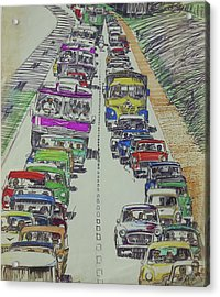 Acrylic Print featuring the drawing Traffic 1960s. by Mike Jeffries