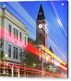 Traffic Along The Fayetteville Arkansas Skyline - Square Acrylic Print