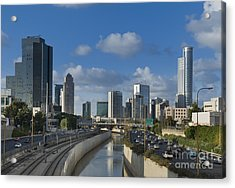 Traffic Flowing In And Out Of Downtown Tel Aviv Acrylic Print by Noam Armonn