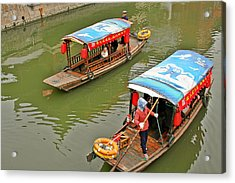 Traffic In Qibao - Shanghai's Local Ancient Water Town Acrylic Print by Christine Till
