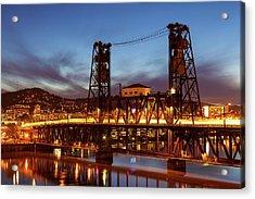 Traffic Light Trails On Steel Bridge Acrylic Print by David Gn