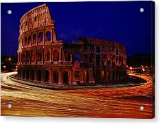 Traffic Races Around The Ruins Acrylic Print by Winfield Parks