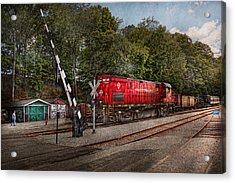 Train - Diesel - Look Out For The Locomotive  Acrylic Print by Mike Savad