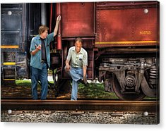 Train - Yard - Shoot'in The Breeze Acrylic Print by Mike Savad
