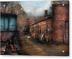 Train - Yard - The Train Yard Acrylic Print by Mike Savad