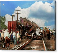 Acrylic Print featuring the photograph Train - Accident - Butting Heads 1922 by Mike Savad
