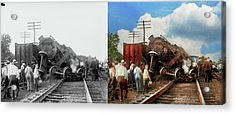 Acrylic Print featuring the photograph Train - Accident - Butting Heads 1922 - Side By Side by Mike Savad