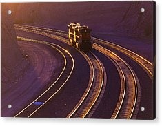 Train At Sunset Acrylic Print by Garry Gay