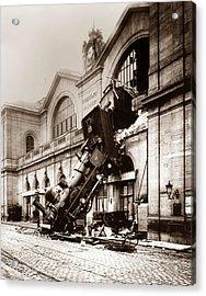 Train Derailment At Montparnasse Station - 1895 Acrylic Print