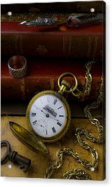 Train Pocket Watch And Old Books Acrylic Print by Garry Gay
