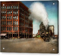 Acrylic Print featuring the photograph Train - Respect The Train 1905 by Mike Savad