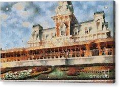 Train Station At Magic Kingdom Acrylic Print by Paulette B Wright