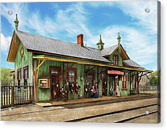 Acrylic Print featuring the photograph Train Station - Garrison Train Station 1880 by Mike Savad