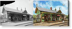 Acrylic Print featuring the photograph Train Station - Garrison Train Station 1880 - Side By Side by Mike Savad
