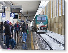 Train Station Under The Snow Acrylic Print by Andre Goncalves