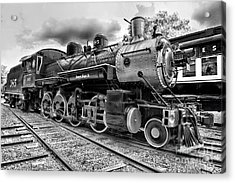Train - Steam Engine Locomotive 385 In Black And White Acrylic Print
