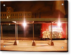 Trains At Night Acrylic Print