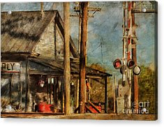 Train's Coming - Berryville Farm Supply Acrylic Print by Lois Bryan