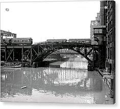 Acrylic Print featuring the photograph Trains Cross Jack Knife Bridge - Chicago C. 1907 by Daniel Hagerman