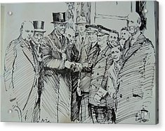 Acrylic Print featuring the drawing Tram Drivers Retirement. by Mike Jeffries