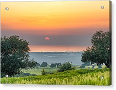 Sicilian Countryside At Sunset Acrylic Print